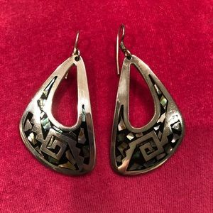 Silver earrings with beautiful inlay design